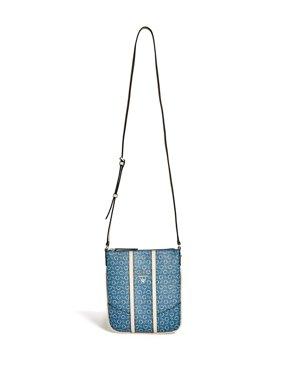 5321700342 Luxusní crossbody kabelka Guess Nichols logo- modrá