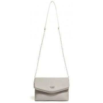 c6d8b3fa0d Luxusní dámská crossbody kabelka Guess Kaylan Fold Over Clutch - šedá
